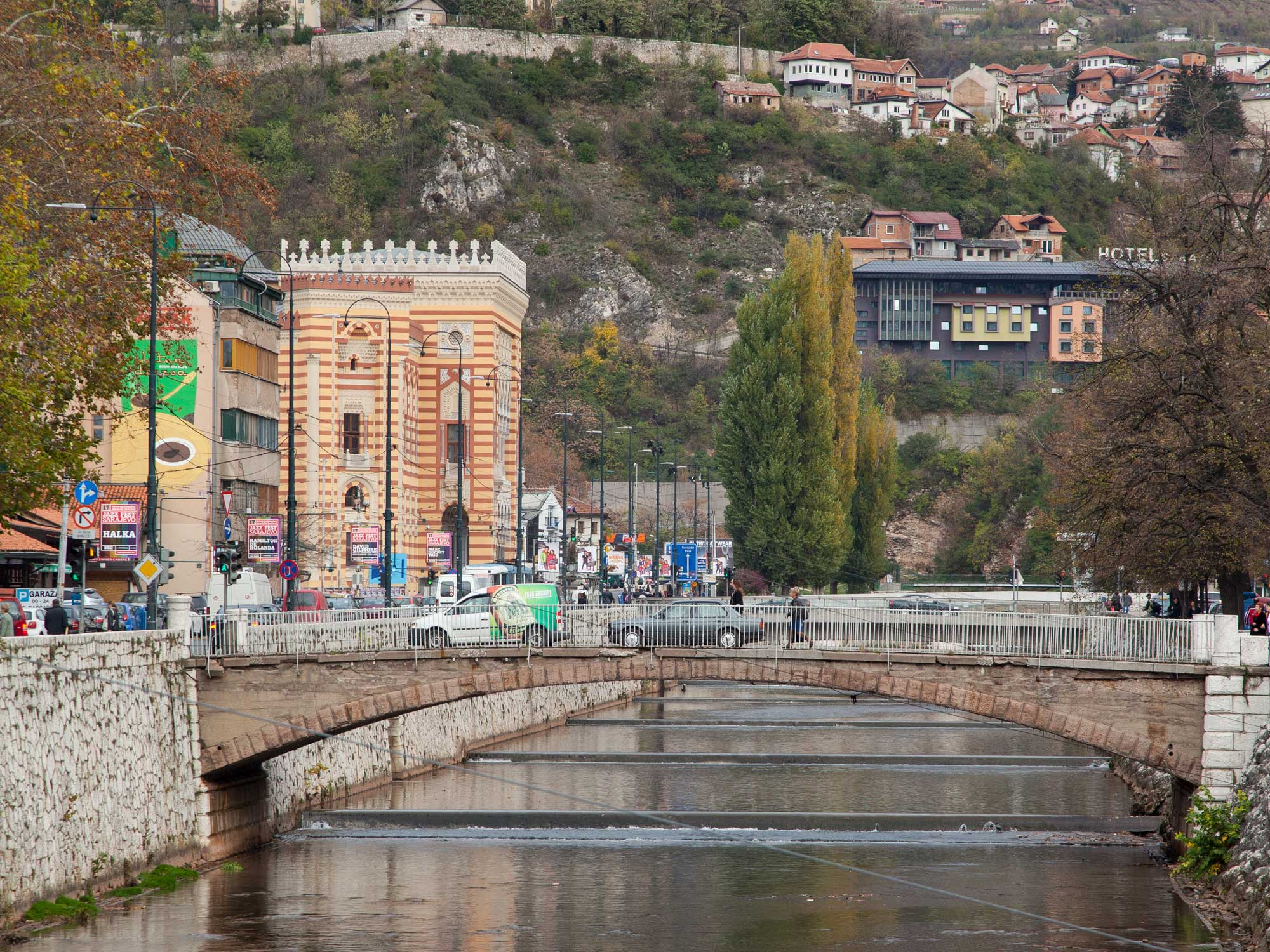 A view of Sarajevo with a bridge in the foreground.