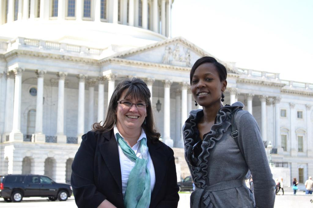 """<span class=""""photo-caption"""">Beth Good (left) is Health Coordinator for MCCand PatriciaKisare(right) is a legislative associate in MCC's Washington Office. They're visiting Capitol Hill to speak with congressional offices about funding for global HIV/AIDS programs.</span><span class=""""photo-credit"""">MCCPhoto by Jesse Epp-Fransen</span>"""