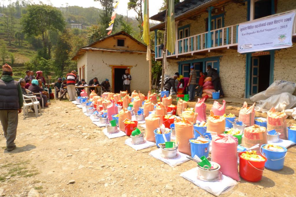 "<span class=""photo-caption"">Relief supplies ready for distribution in the Okhaldhunga District.</span><span class=""photo-credit"">MCC Photo/Durga Sunchiuri</span>"