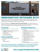 Poster for Immigration Detainee Kits