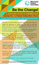 Poster for Be the Change! youth seminar (PDF 56KB)