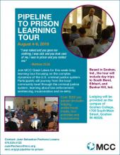 Pipeline to Prison Learning Tour Flier with FAQs