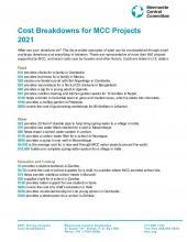 2021 MCC Project Cost Breakdowns