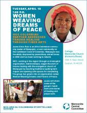 Poster for Juana Alicia Ruiz storytelling in Goshen, IN