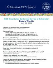 MCC Great Lakes Centennial Service of Celebration: Order of Worship