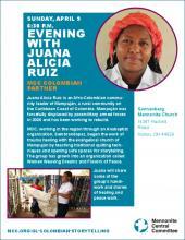 Poster for Juana Alicia Ruiz storytelling in Kidron, OH