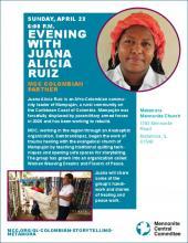 Poster for Juana Alicia Ruiz storytelling in Metamora, IL