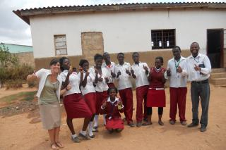 Tiffany Ankrom with students in Zambia
