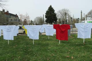 T-shirt memorial to gun violence victims