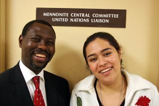 The Rev. Mautji Eloridge Pataki, former participant with MCC's International Volunteer Exchange Program (IVEP) and now general secretary of the South African Council of Churches, met with Keyla Cortez Vanegas, a Mennonite World Conference intern at MCC U.N. Office, to encourage her while he was in New York City for a meeting.