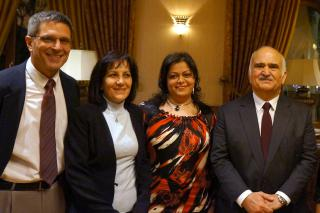 MCC staff pictured with HRH Prince El Hassan bin Talal (right) at the symposium: (left-right) Daryl Byler, an MCC representative in the Middle East; Nada Zabeneh, MCC Jordan program coordinator; and Suzi Khoury, MCC Jordan administrative assistant.