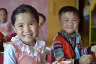 Kids drink soy milk in North Korea