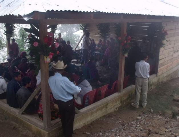 A crowd of farmers gathers at a meeting of the La Linea Cooperative in Sibinal, Guatemala, in March. Primarily focused on the production and sale of flowers, this cooperative is also working on creating a space to sell local produce and promoting ecotourism, since it is near the Tacana volcano. MCC supports the development of this cooperative, in partnership with the San Marcos Diocese, as a way to strengthen the economic and food security in Sibinal.