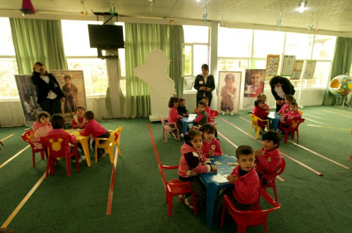 Kids House students participate in group activities with their teachers. Kids House is well known in Erbil for its reputation as a place of solid, holistic development for children, ages three to five. Kids House has an enrollment of 240 children.