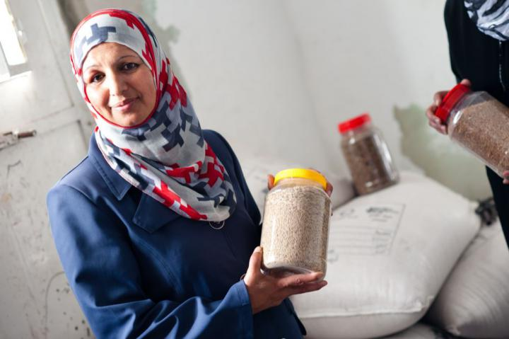 Halima Farash leads a women's agricultural cooperative near Hebron in the West Bank. The cooperative benefits from a seed distribution program supported by the Applied Research Institute, Jerusalem, an MCC partner organization. Applied Research Institute helps rural households in the West Bank improve home gardens and field crops.