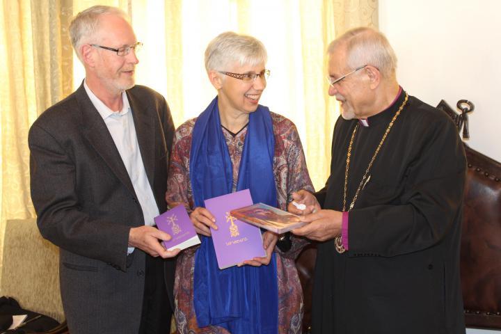 GordonEpp-Fransen, left, andCarolyneEpp-Fransen, centre, are MCC representatives for Iran, Iraq and Jordan. They're with ArchbishopSebouhSarkissianat the Armenian Orthodox Prelacy offices, in Tehran, Iran.