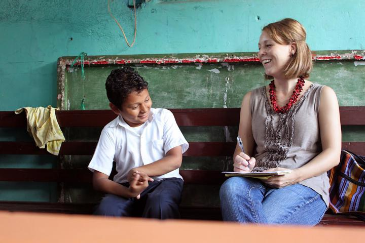 MarisaClymerShank (right) serves as a literacy promoter in Nicaragua. She's interviewing 9-year-old EdwinPotoyGuido Francisco atRayitodelSol school in Managua, Nicaragua.