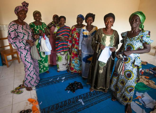 "CEVIFA remains committed to women far beyond the course of a training. After going through the sewing classes, for instance, participants will regularly return to CEVIFA to practice their skills or ask questions. ""They take their work home with them, then they come back here to receive more guidance,"" says CEVIFA administrator Boling Bangre. Many return for medical checkups. Encouraged by staff, they share their experiences with each other and pray together."