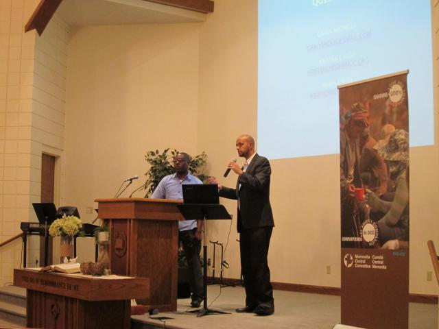 Garly Michel (left) and Wawa Chege (right) shared stories and answered questions from attendees about life in Haiti, MCC's ongoing response to the 2010 earthquake,trauma-healing and advocacy efforts. Michel is Executive Director for Wozo, an MCC partner in Haiti working with trauma-healing. Wawa Chege is MCCHaiti Policy Analyst and Advocacy Coordinator.