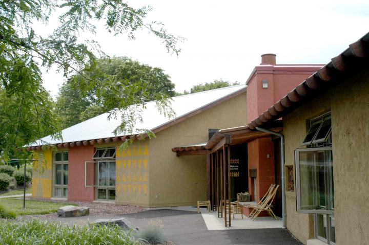 Each of the four Welcoming Place guest houses features arts and handicrafts from one of the major program areas where MCC works: Africa, Asia, the Americas and Middle East/Europe. This photo is an exterior view of Africa house.