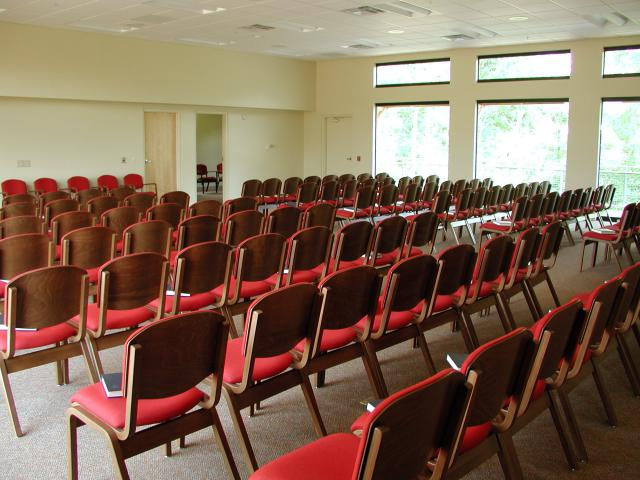 """The Meeting Place assembly rooms can be set up """"congregation"""" style, or conference style with tables and chairs."""