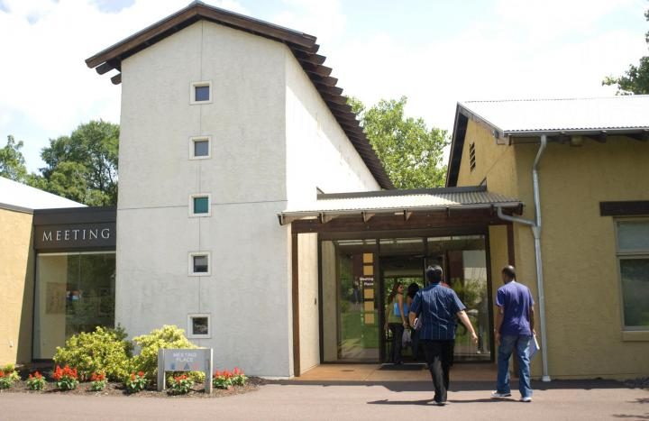 Here guests arrive at the Meeting Place, our retreat and conference center, which features two large assembly rooms, four smaller conference rooms, a kitchen, and two children's rooms.