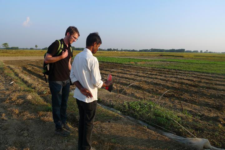 MCC has been an active presence in Nepal for many years—since the 1950s. We work through local partners to provide education, shelter, safe drinking water and address food security and health concerns. Here Manoj Kumar Singh (right), an Agriculture Technician, describes agricultural training methods to Luke Reesor-Keller, MCC co-representative in Nepal, at the site of anMCC-supportedfood security project in southeasternNepal, run by the Brethren in Community Welfare Society.
