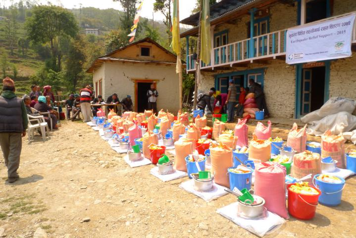 Relief supplies ready for distribution in the Okhaldhunga District.