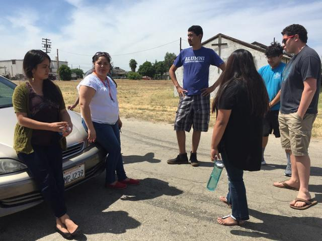 The Migration and Resettlement class explores the historic grounds of the Japanese internment camps located in Fresno, Calif.  Maria and Ariana, instructors for the class, share about the common threads of pain and suffering of migrant populations.
