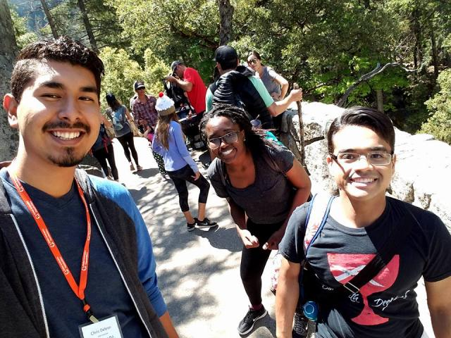 GAP participants,Chris DeLeon, Jordan Williams and Taylor Starks take on the giant staircase of Vernal Falls at Yosemite National Park.Each year, the group starts the week long event off with a day trip to Yosemite National Park.