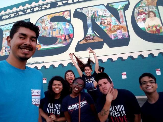 Chris DeLeon, Blanca Torres, Ayda Villalobos, Taylor Starks, Estela Mata, Richard Corbin and Jordan Williams enjoy a fun night in downtown Fresno, Calif., at a local Art Hop event.