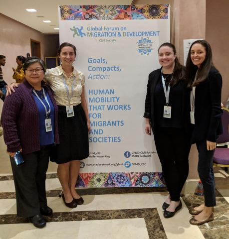 Members of UN Civil Society attend the GFMD