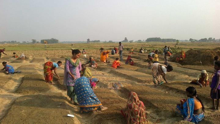 A landscape filled with women working on garden plots.