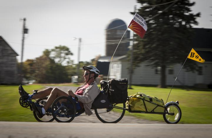 Former MCC Central States Executive Director John Stoesz of Newton, Kan., is advocating for Dakota land justice as he rides his recumbent trike 2,000 miles across southern Minnesota during September and October.