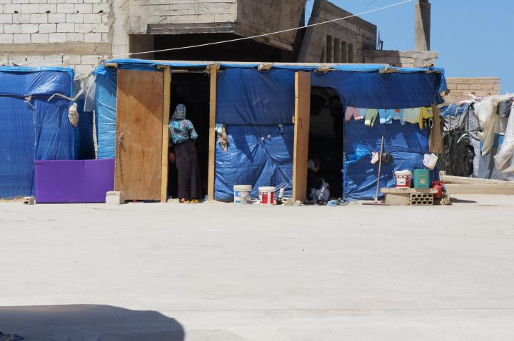 This refugee settlement in southern Lebanon is composed almost entirely of people from the same village in Syria. These sheds are not equipped for winter and will flood with heavy rains. (MCC photo/Sarah Adams)