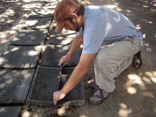Daniel King, 28, lays bricks in Monteiro, Brazil, during his MCC SALT assignment.