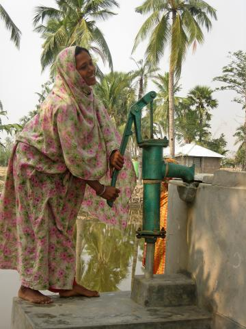 Shahanara Begum is delighted to have clean drinking water within a hundred yards of her house after MCC partner organization, Uttaran, worked with villagers to clear sea water from the pond and install a water filter to make the water potable.