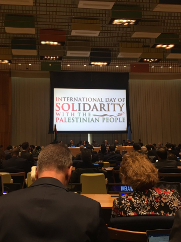 Members of the UN community attend the commemoration of the International Day of Solidarity with the Palestinian People