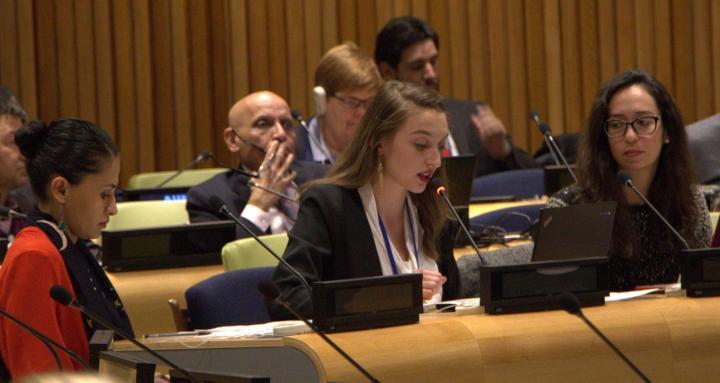 Emma delivering statement at UN