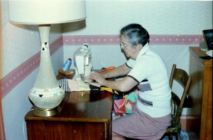 Florence Bucher and sewing machine