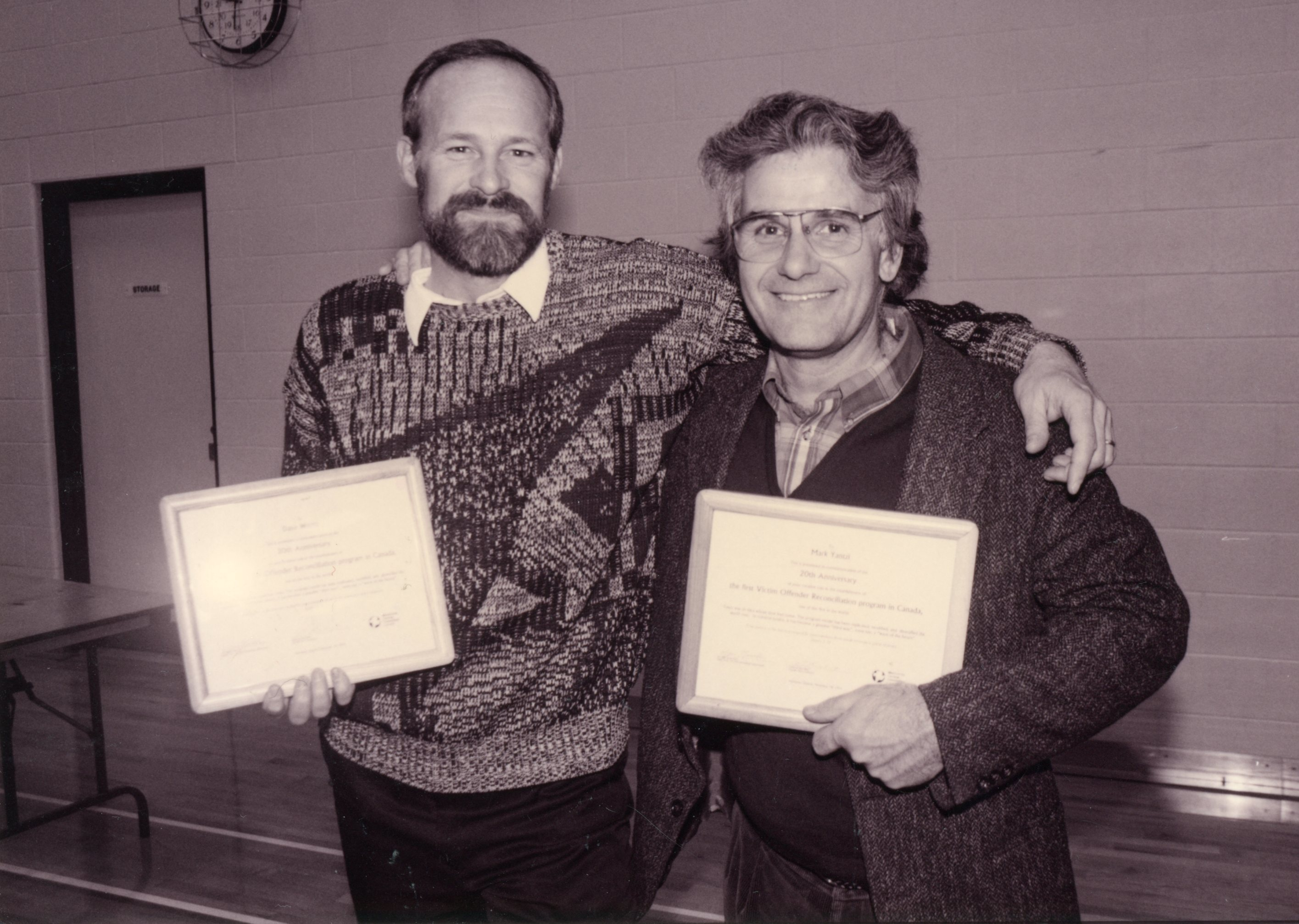 Dave Worth (left) and Mark Yantzi are recognized for their work.