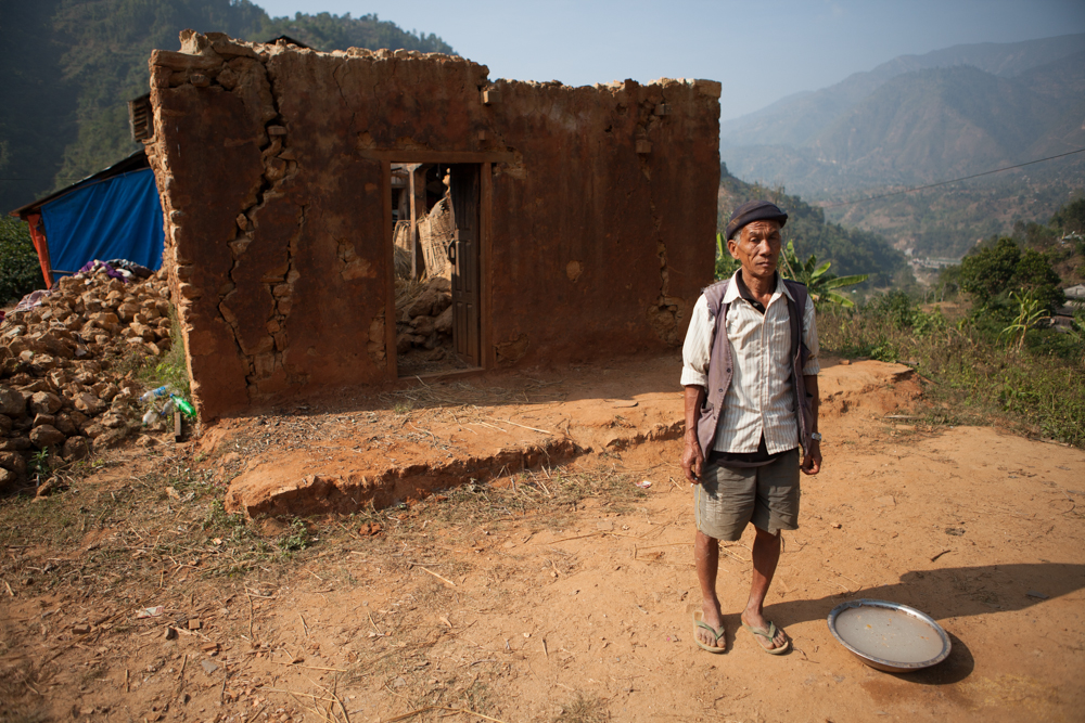 Ruins of a home in Dhading District of Nepal.